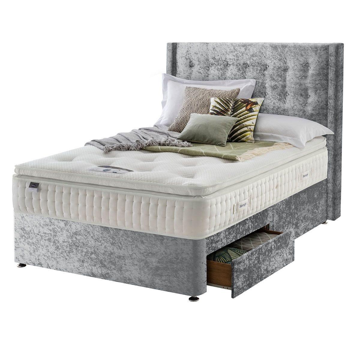 Silentnight Mirapocket Latex 1400 2-Drawer Divan Bed - Crushed Velvet Light Grey Double