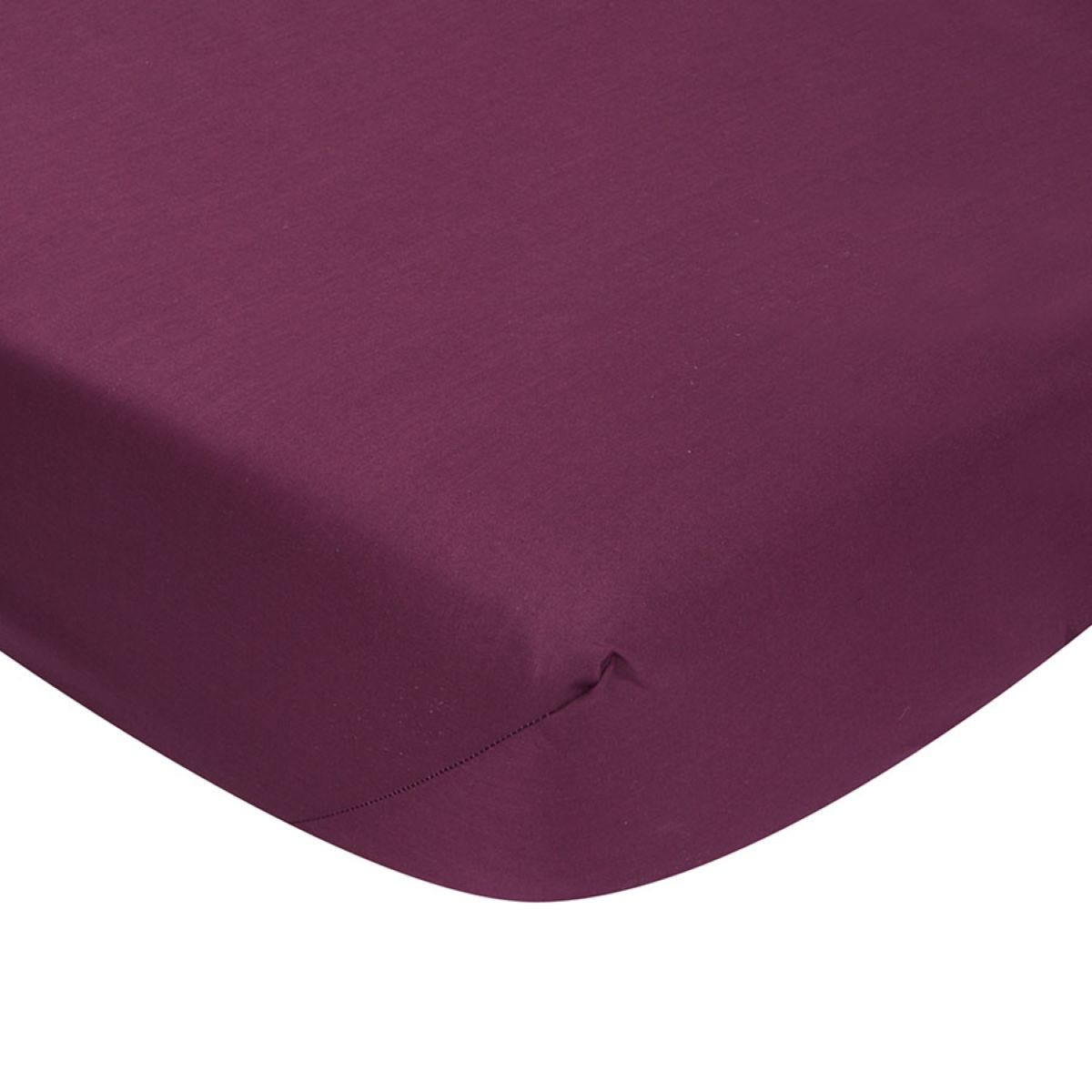 Catherine Lansfield Non-Iron Fitted Sheet - Plum