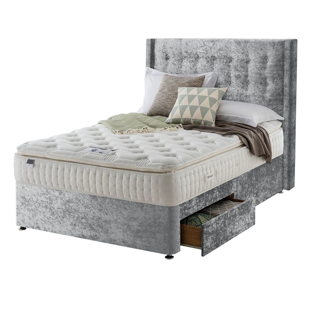 Silentnight Mirapocket Latex 1000 2-Drawer Divan Bed - Crushed Velvet Light Grey King