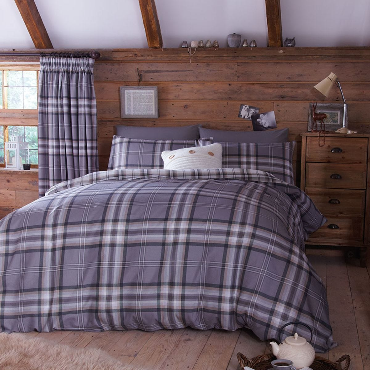 Catherine Lansfield Kelso Check Duvet Set - Charcoal