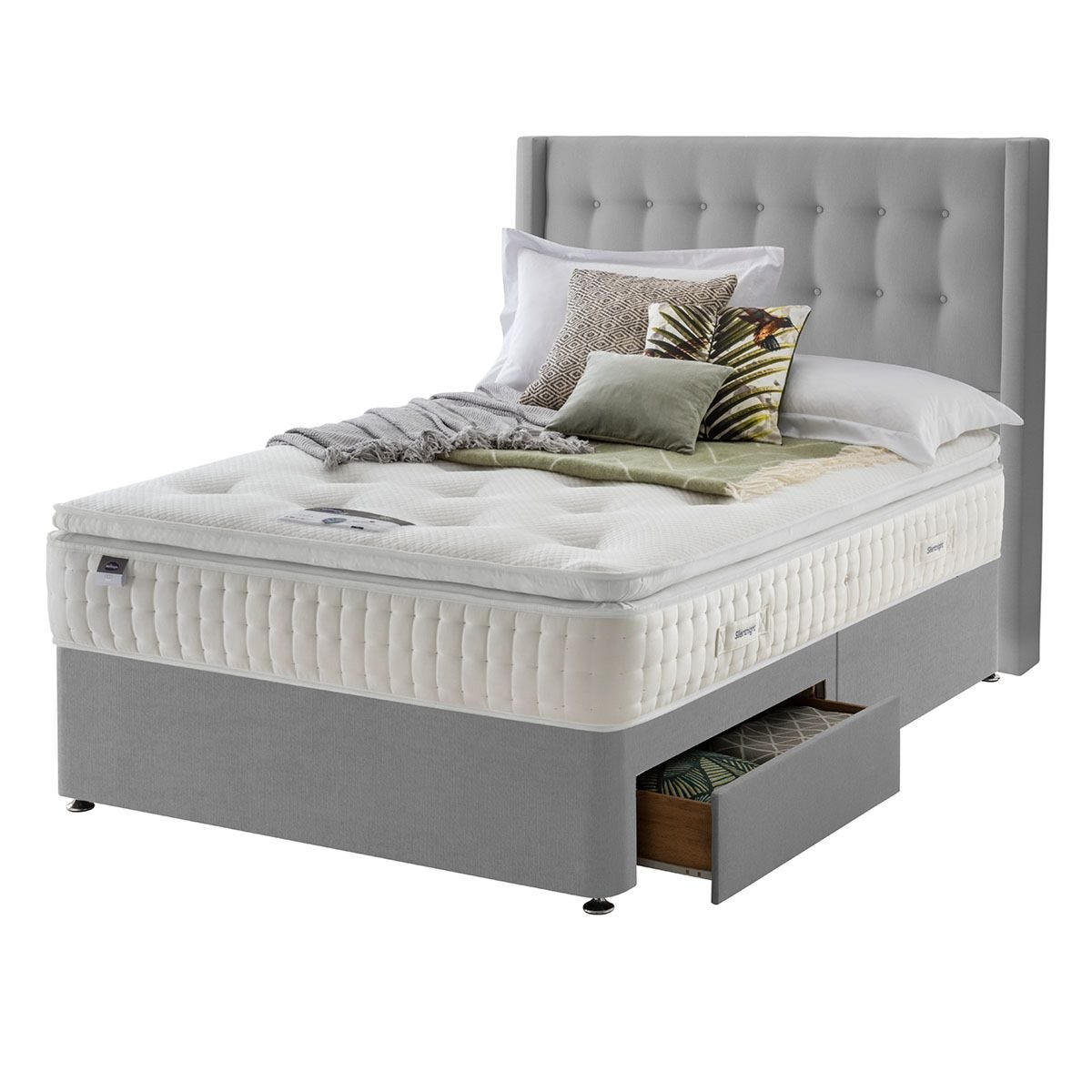 Silentnight Mirapocket Latex 1400 2-Drawer Divan Bed - Grey Double
