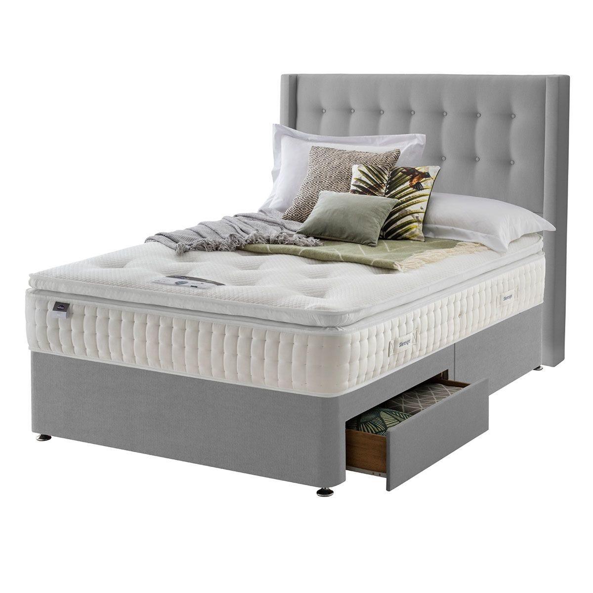 Silentnight Mirapocket Latex 1400 2-Drawer Divan Bed - Grey