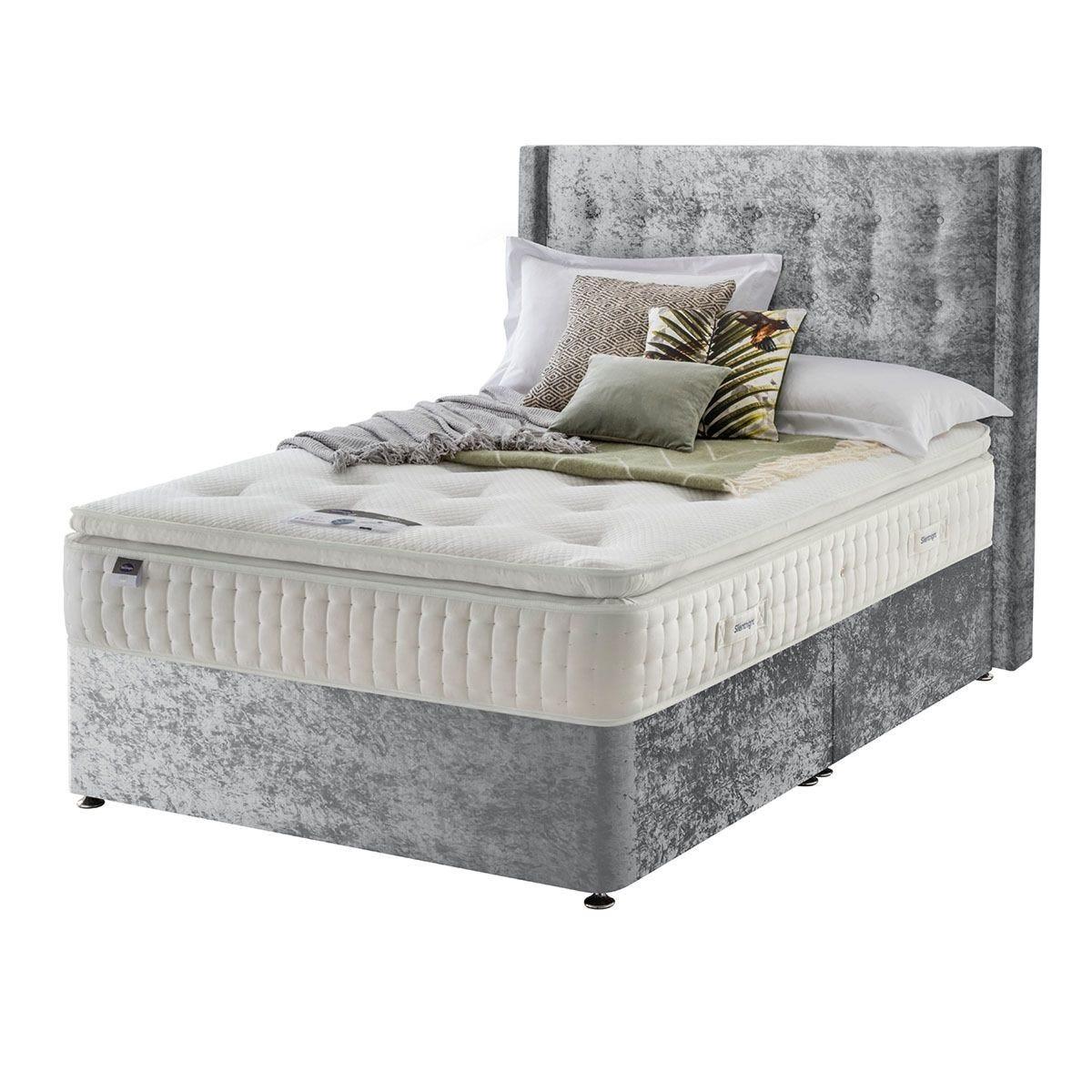 Silentnight Mirapocket Latex 1400 Non Storage Divan Bed - Crushed Velvet Light Grey Double