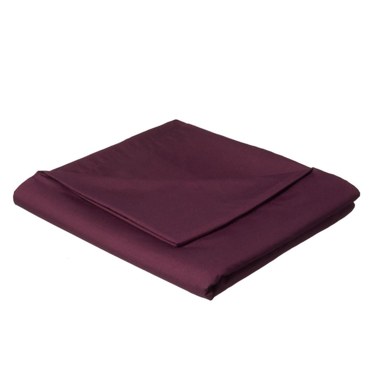 Catherine Lansfield Non-Iron Plain Dye Flat Sheet - Plum