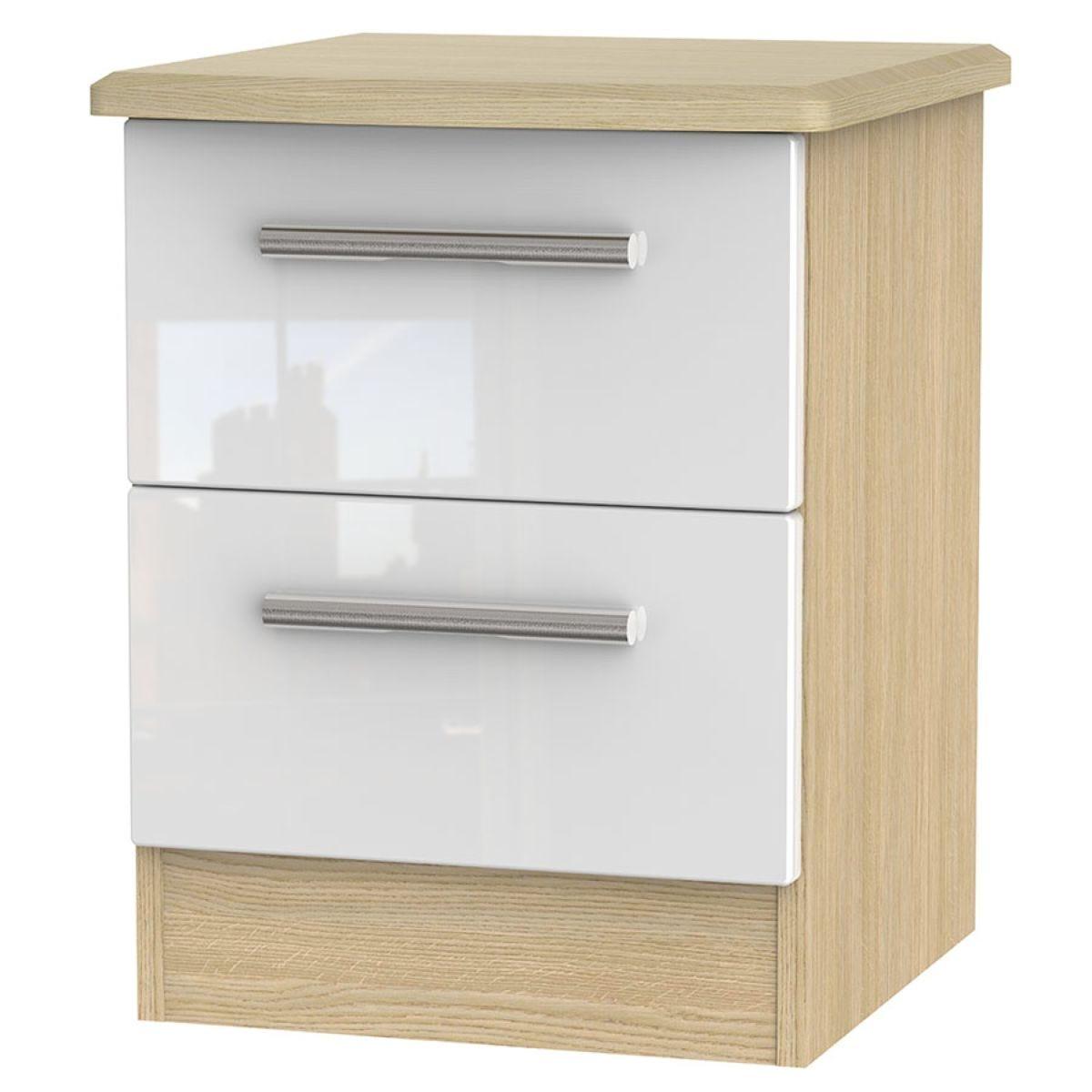 Kirkhill 2-Drawer Bedside Table - White Oak