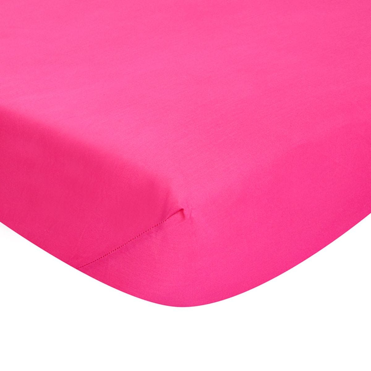 Catherine Lansfield Non-Iron Fitted Sheet - Hot Pink