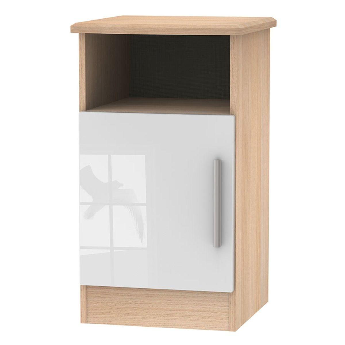 Kirkhill 1-Door Bedside Table - White Oak