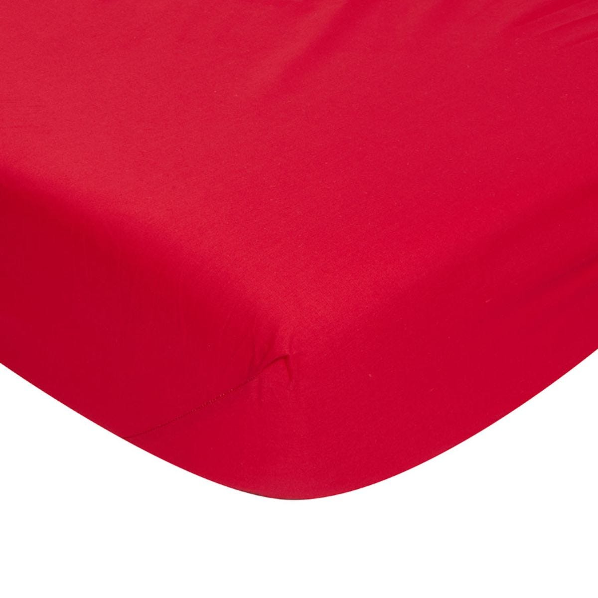 Catherine Lansfield Non-Iron Fitted Sheet - Red