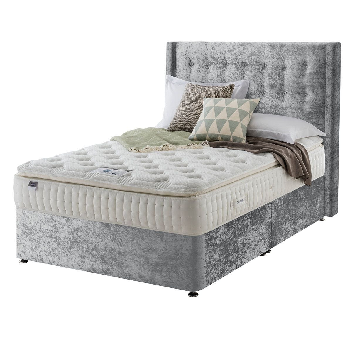 Silentnight Mirapocket Latex 1000 Non Storage Divan Bed - Crushed Velvet Light Grey Super King