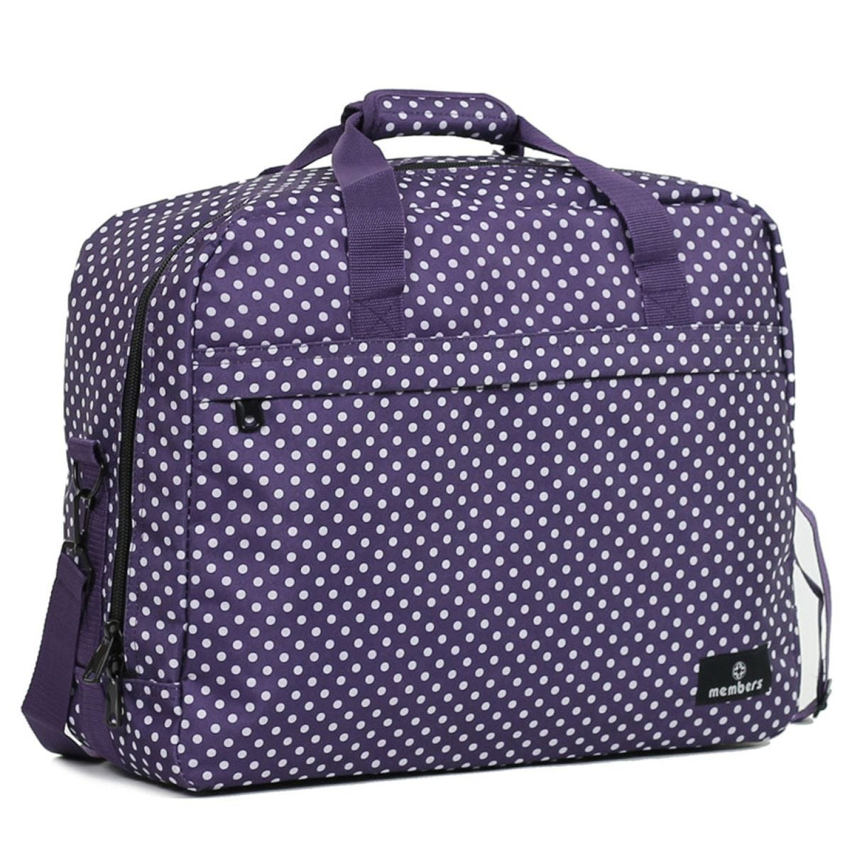 Members by Rock Luggage Essential Carry-On Travel Bag - Purple Polka Dots