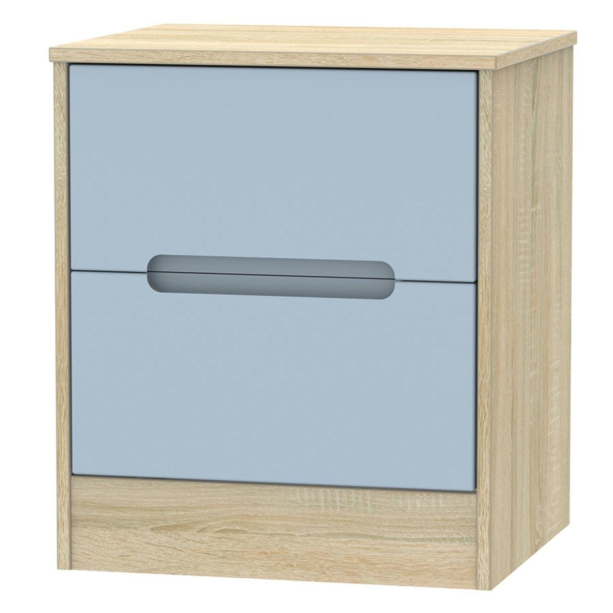 Barquero 2-Drawer Bedside Table - Pine/Denim