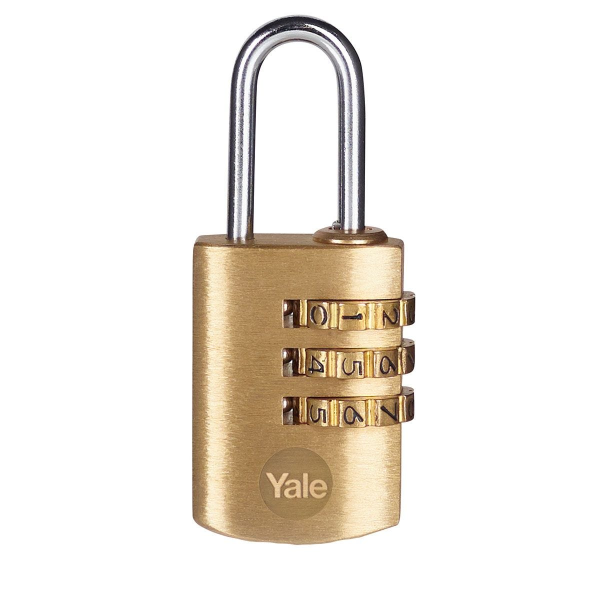 Yale Brass Combination Padlock 22mm - Pack of 2