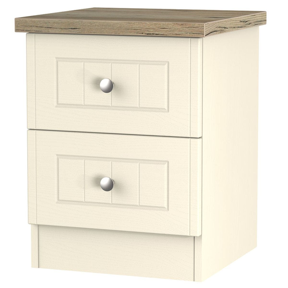 Wilcox 2-Drawer Bedside Table - Cream Ash