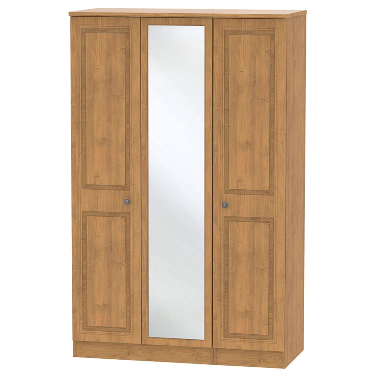 Otega 3-Door Mirrored Wardrobe -Oak
