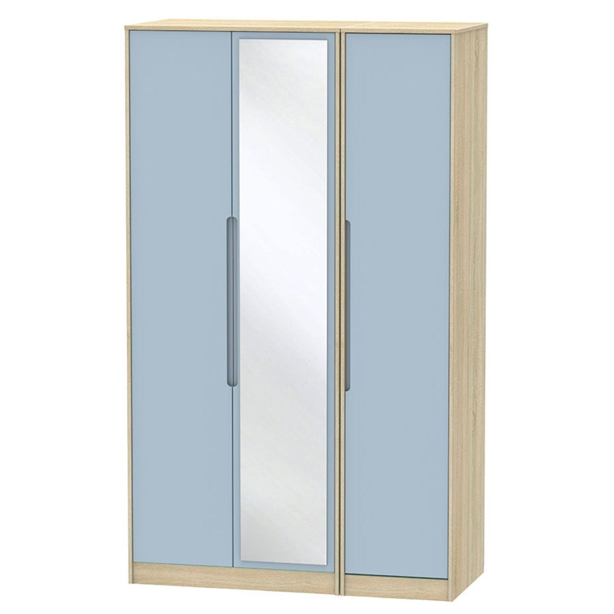Barquero Tall 3-Door Mirrored Wardrobe- Pine/Denim