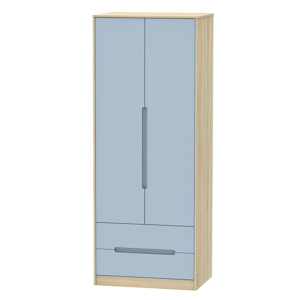 Barquero Tall 2-Door Wardrobe with Drawers - Pine/White Gloss