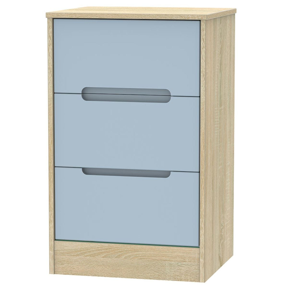 Barquero 3-Drawer Bedside Table - Pine/Denim