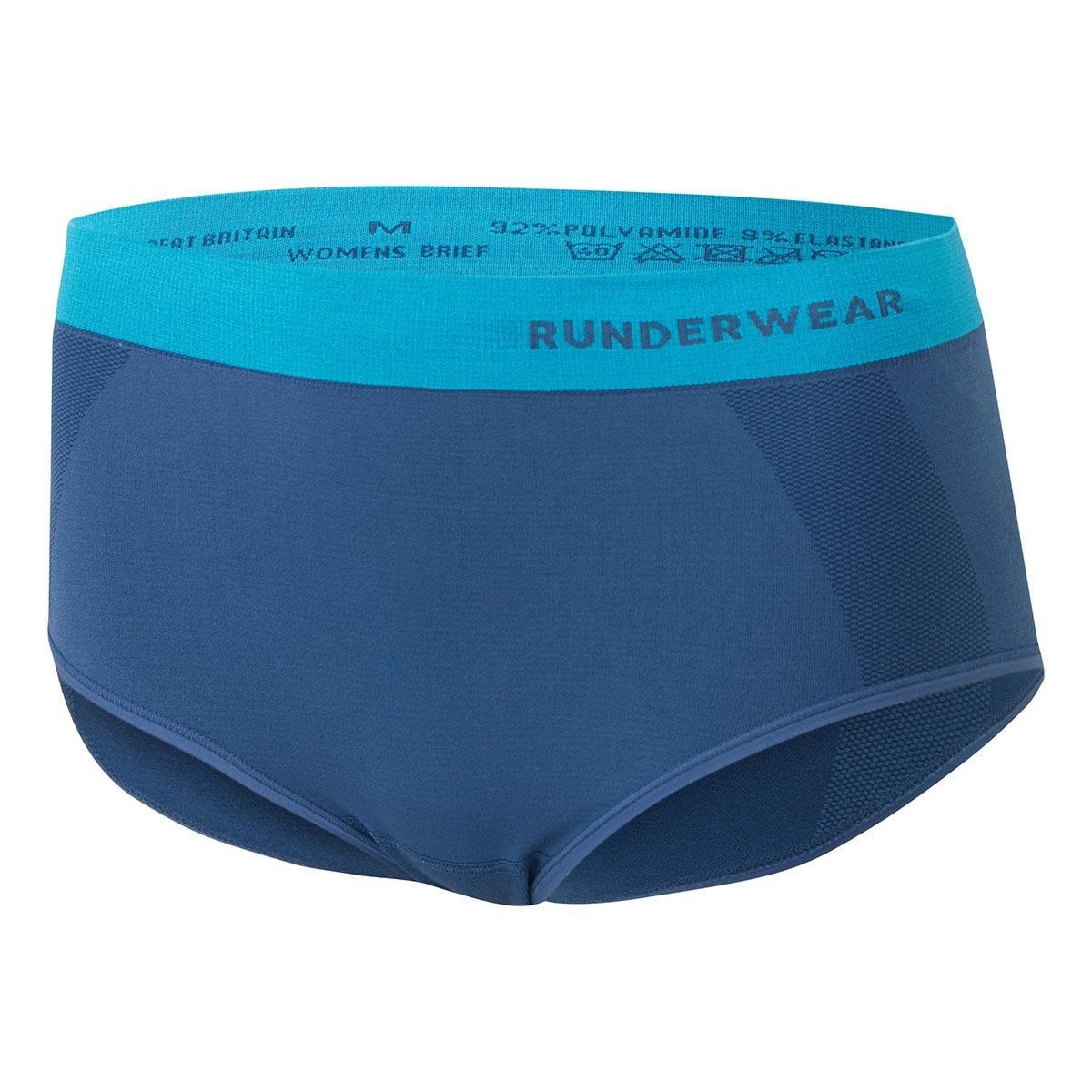 Runderwear Women's Running Briefs Large -Blue