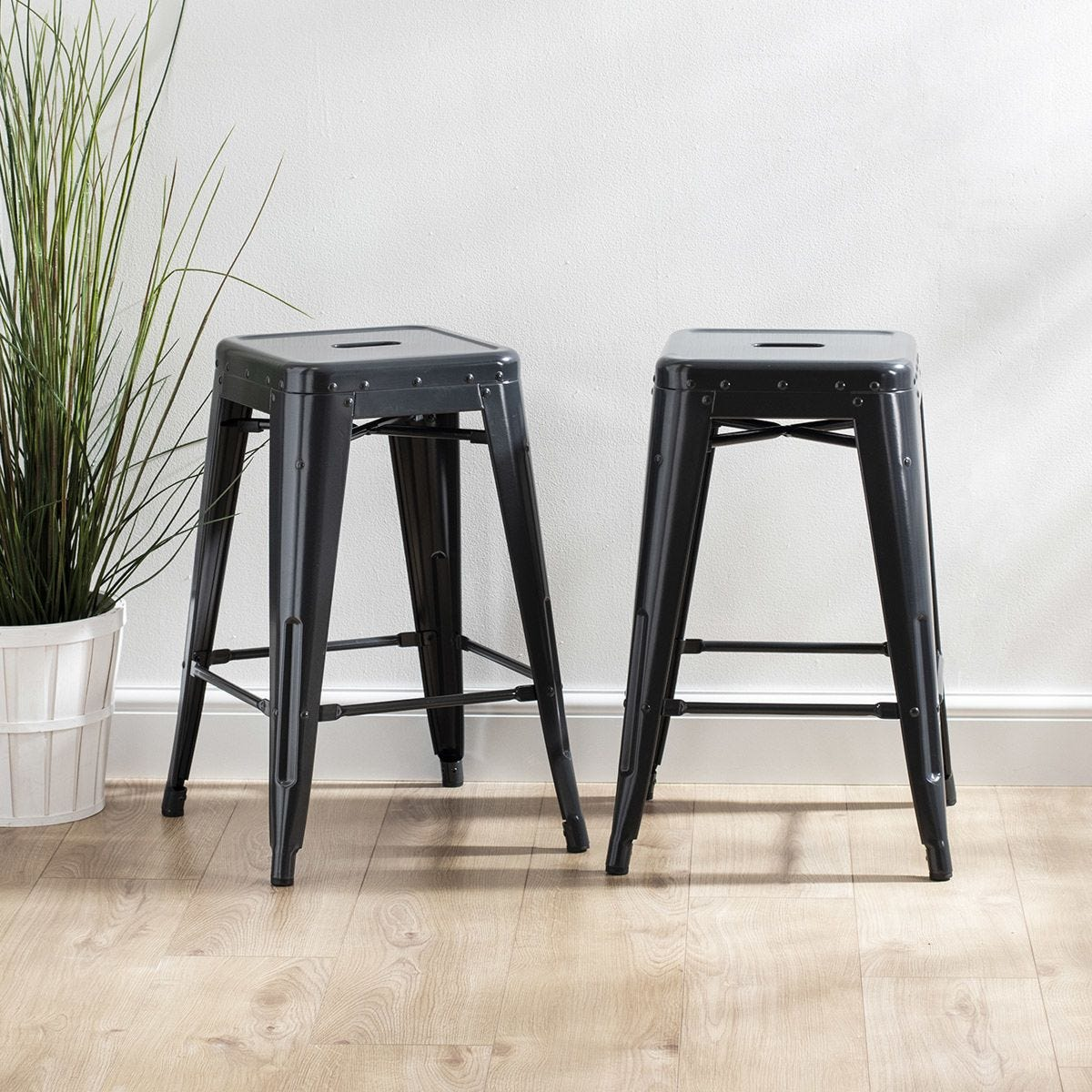 Home Scape Metal Bar Stools - 2 Pack