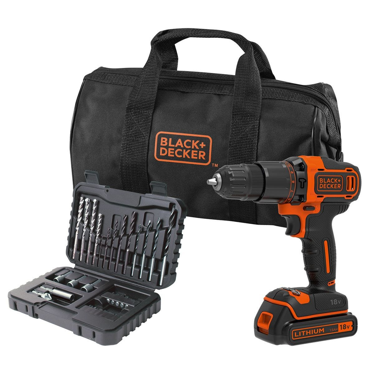 Black + Decker 18V Combi Drill with 1.5AH Lithium Battery & 32-Piece Accessory Set