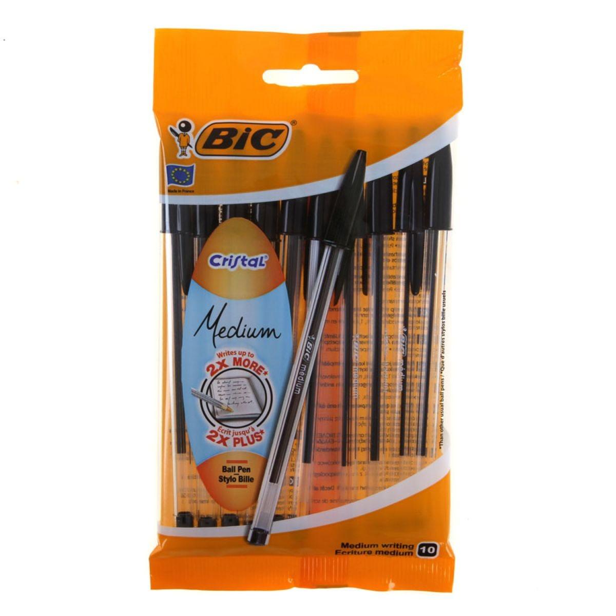 Bic Cristal Medium Ballpoint Pens – Pack of 10, Black