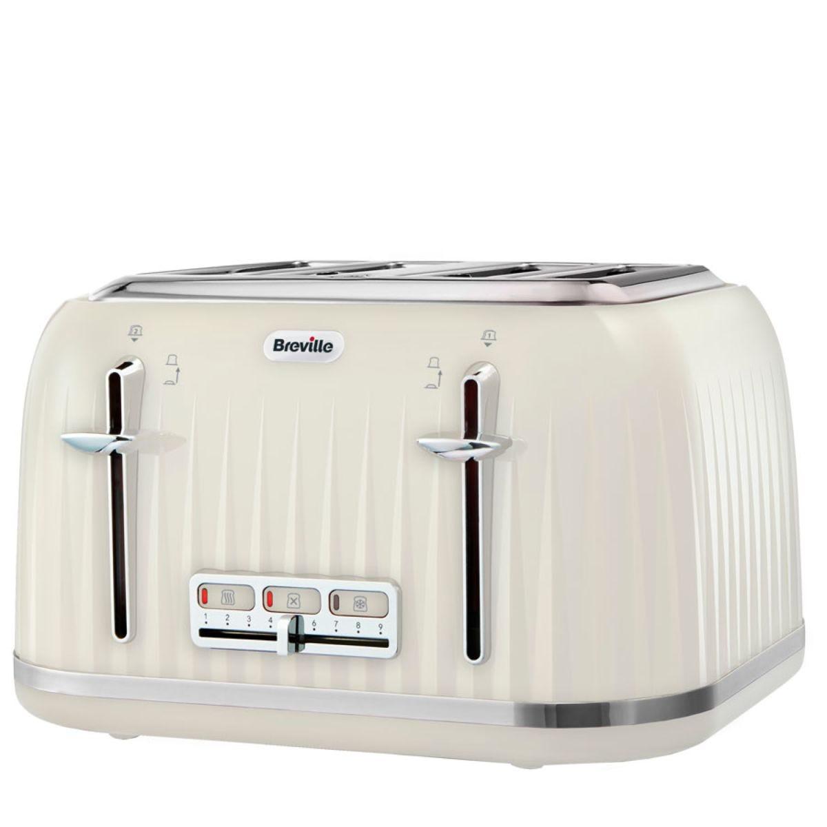 Breville VTT702 Impressions 4–Slice Wide–Slot 2000W Toaster – Cream
