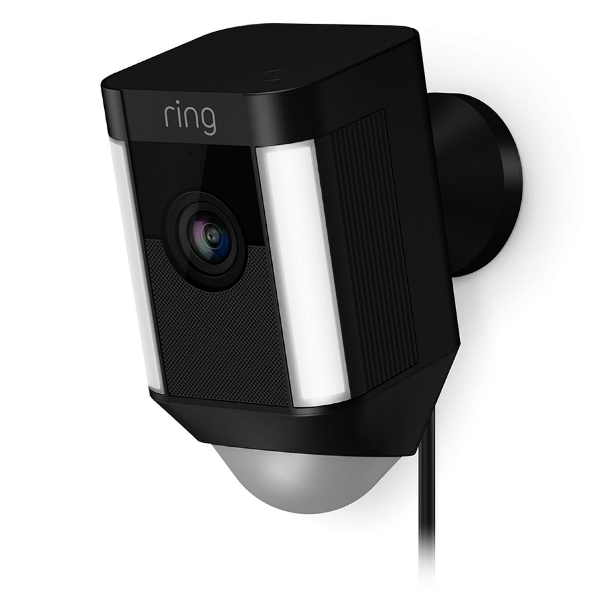 Ring Spotlight Cam Wired Home Security Camera and Siren Alarm - Black