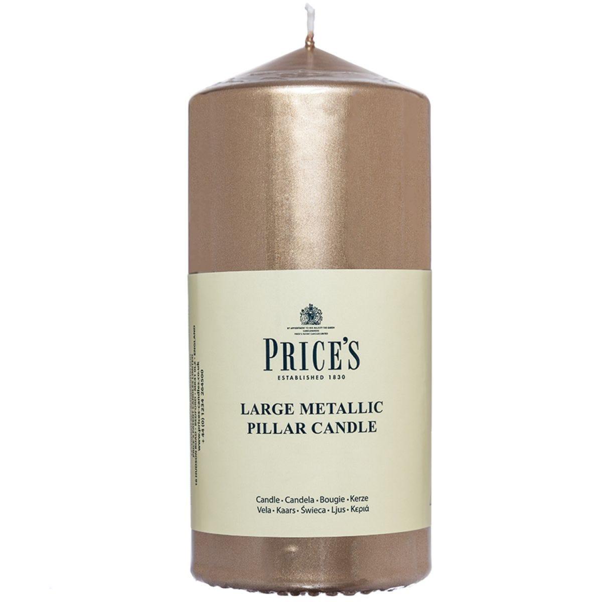 Price's Large Metallic Pillar Candle - Gold