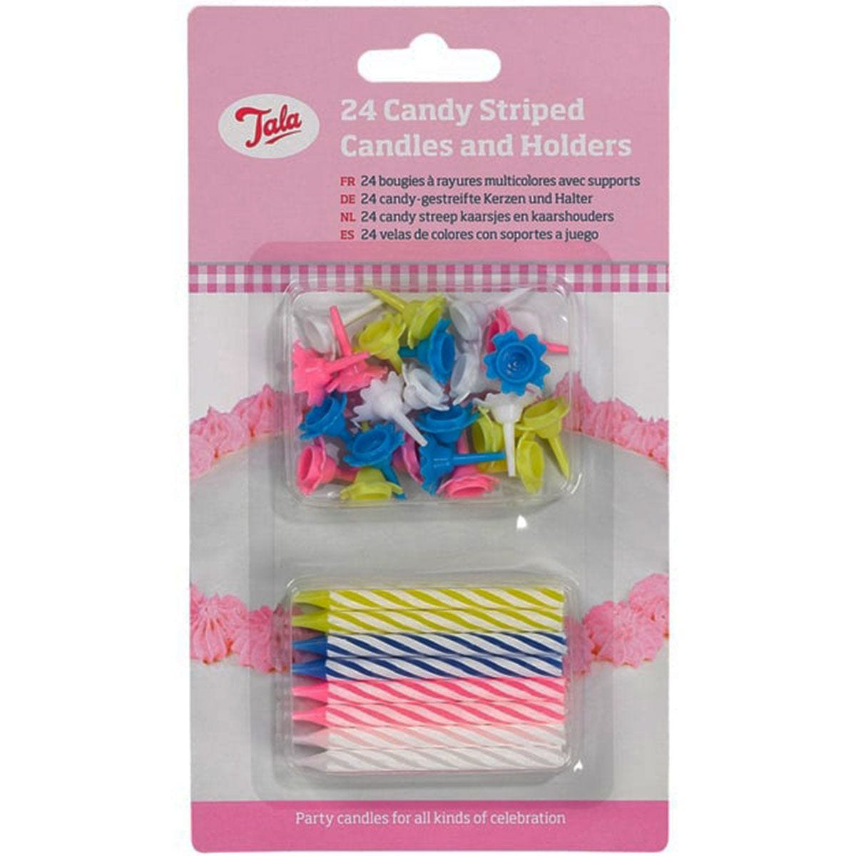 Tala Striped Candles with Holders - Pack of 24