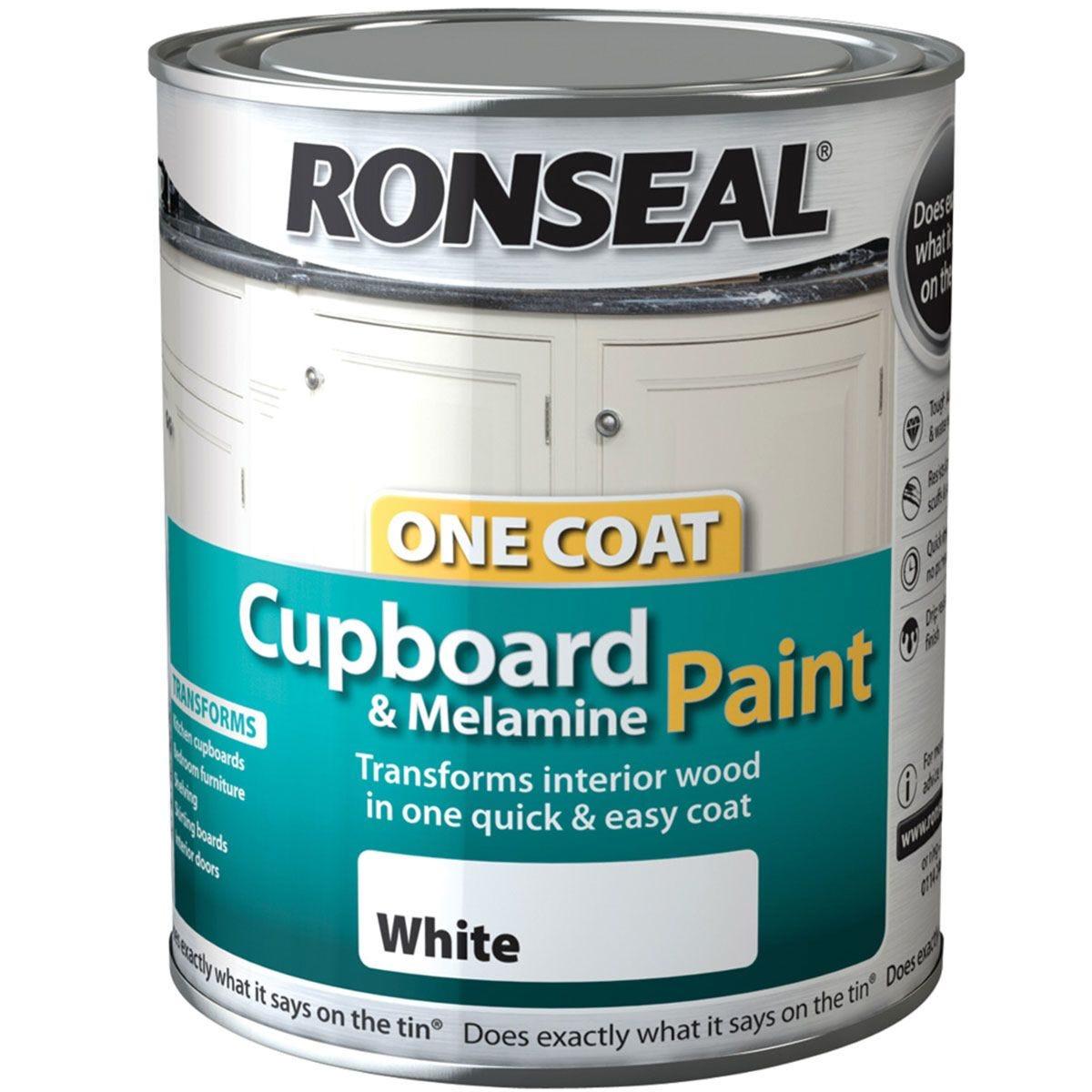 Ronseal 750ml Cupboard & Melamine Paint - White