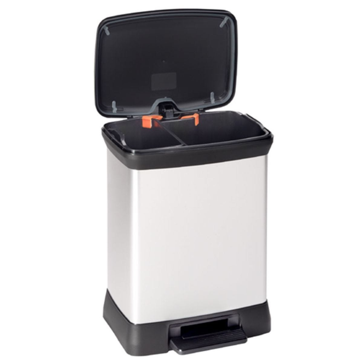 Curver Deco 28L Double Recycling Pedal Bin - Silver
