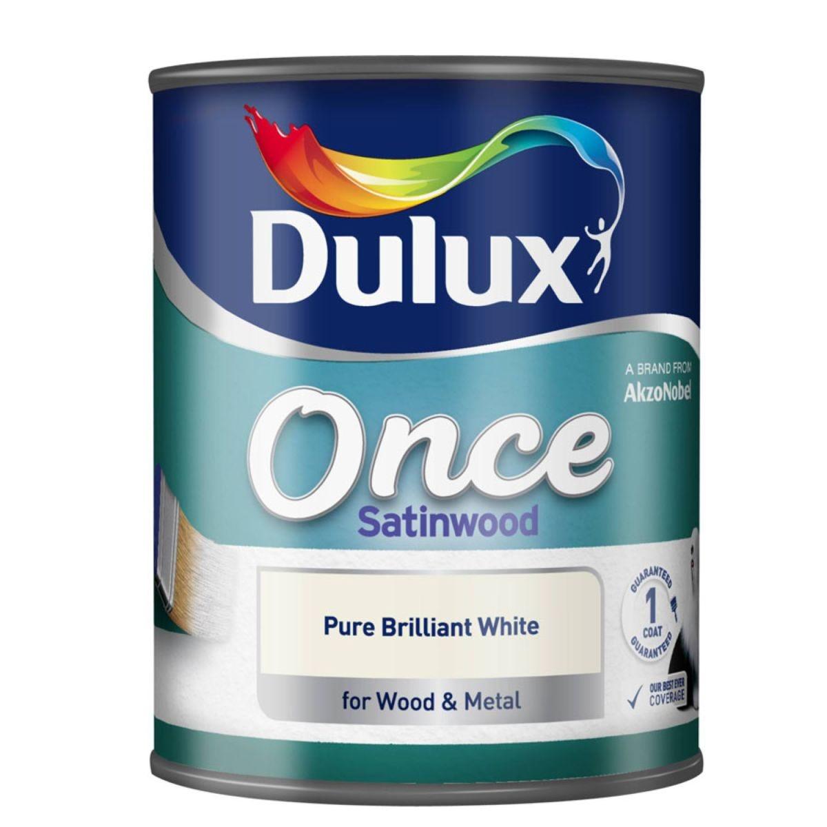 Dulux Once Satinwood Wood & Metal Paint – Brilliant White, 750ml