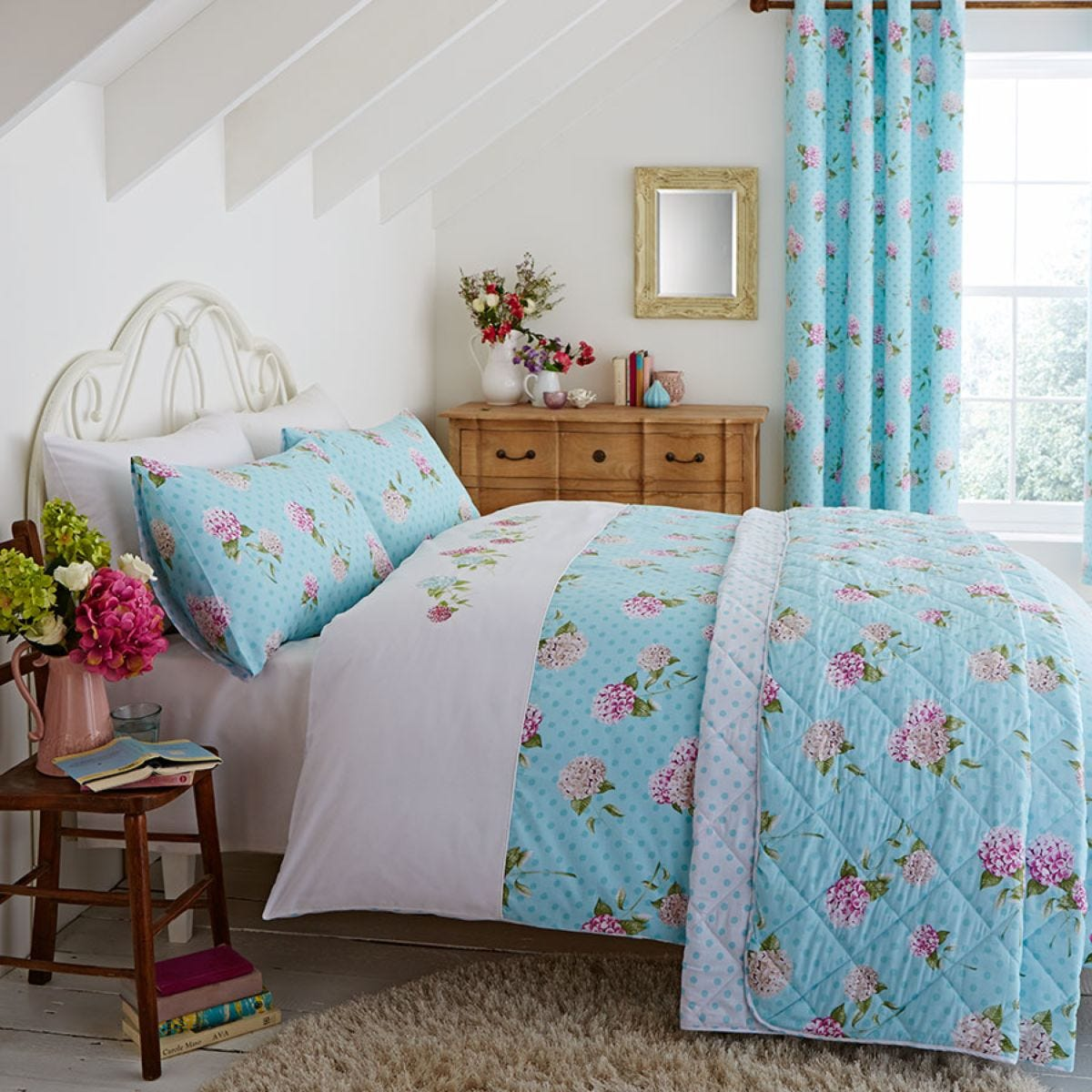 Catherine Lansfield Embroidered Floral Bed Set - Duck Egg