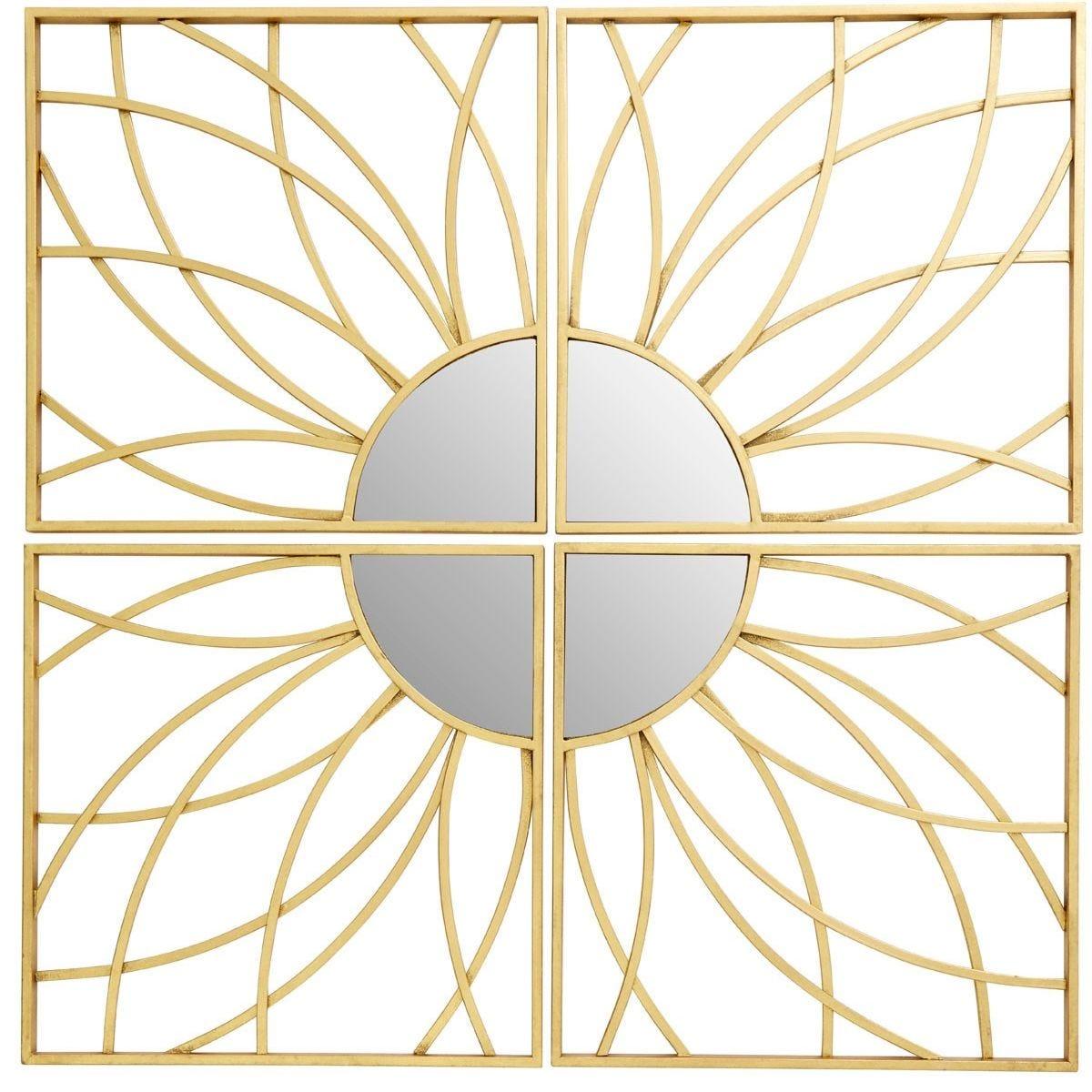 Premier Housewares Farran Petal Mirror - Champagne Gold