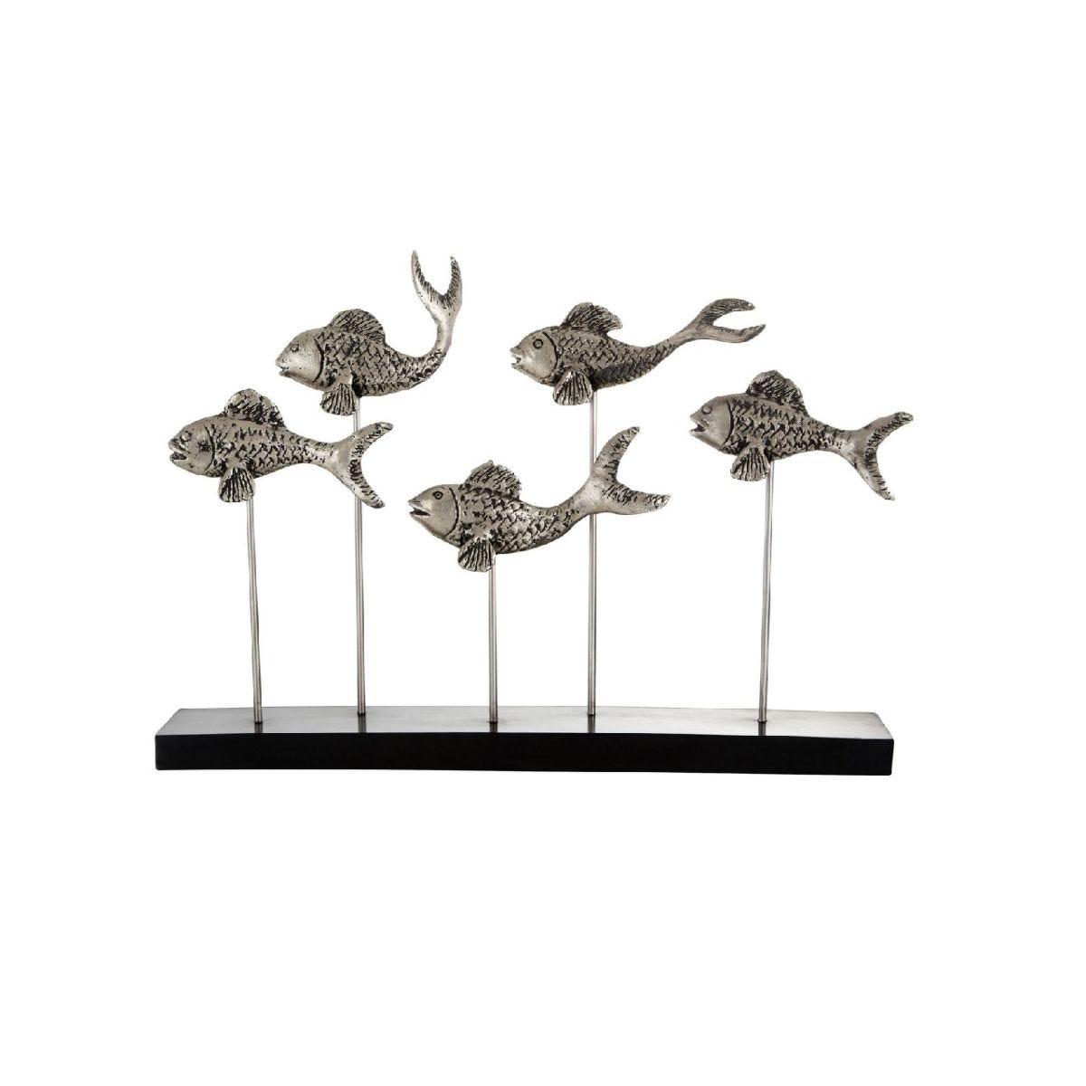 Premier Housewares Fish School Sculpture - Silver/Black