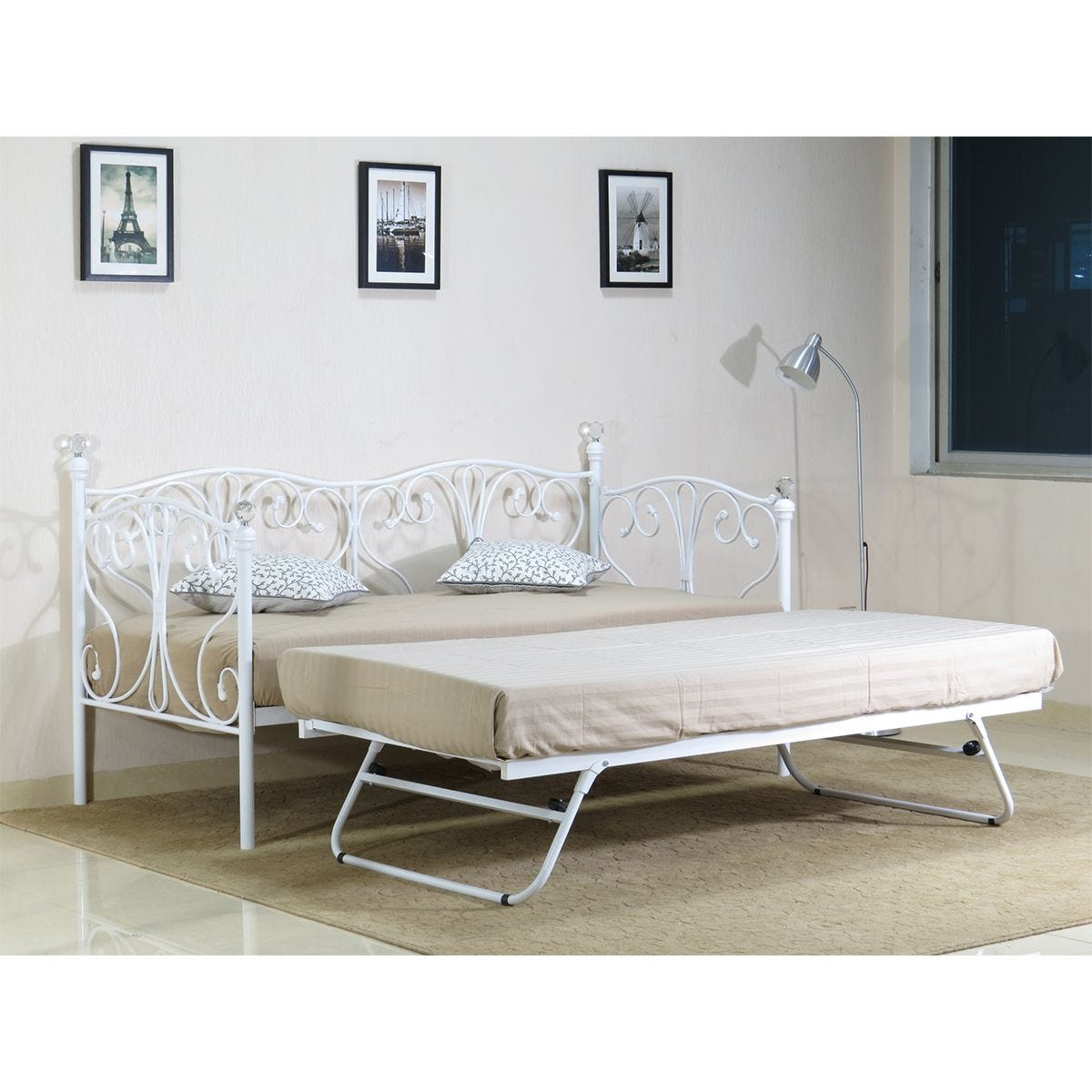 Geovana Day Bed With Trundle - White