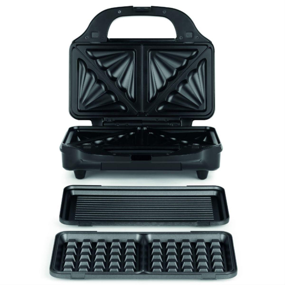 Salter EK2143 900W Deep Fill 3–in–1 Sandwich and Waffle Maker – Silver/Black