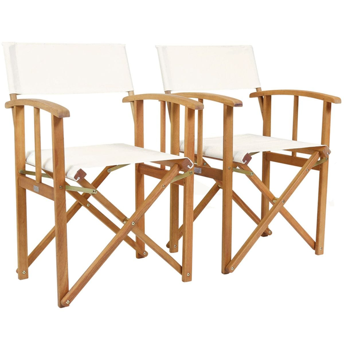 Charles Bentley Fsc Pair Of Wooden Foldable Directors Chairs With Cream Fabric