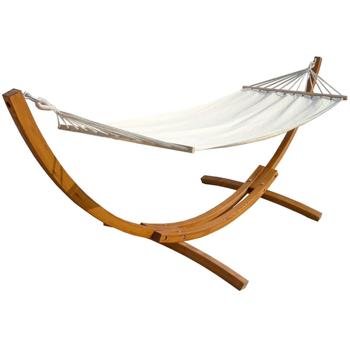 Charles Bentley Cream Canvas Hammock With Wooden Arc Stand