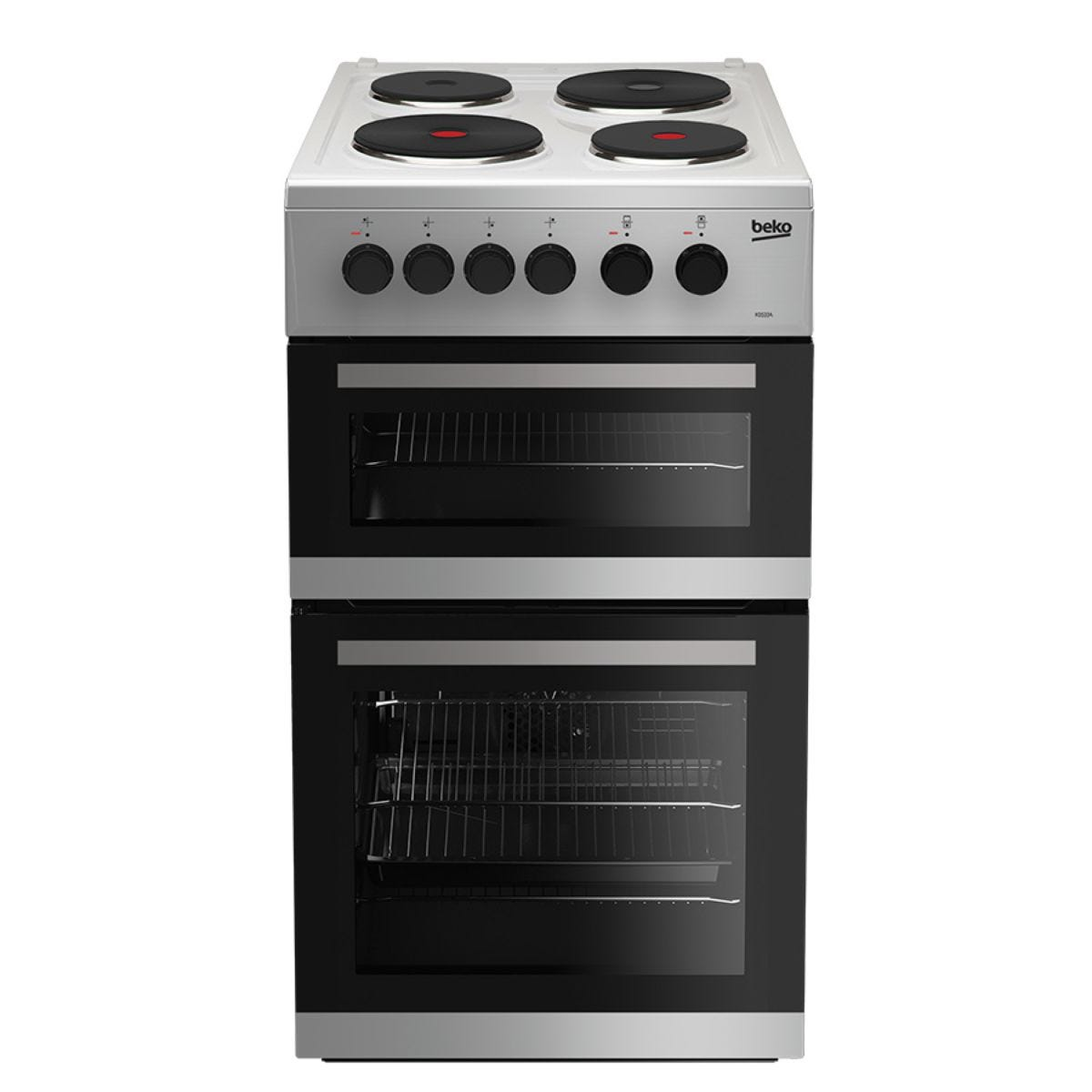 Beko KD533AS Double Oven 91L Electric Cooker - Silver