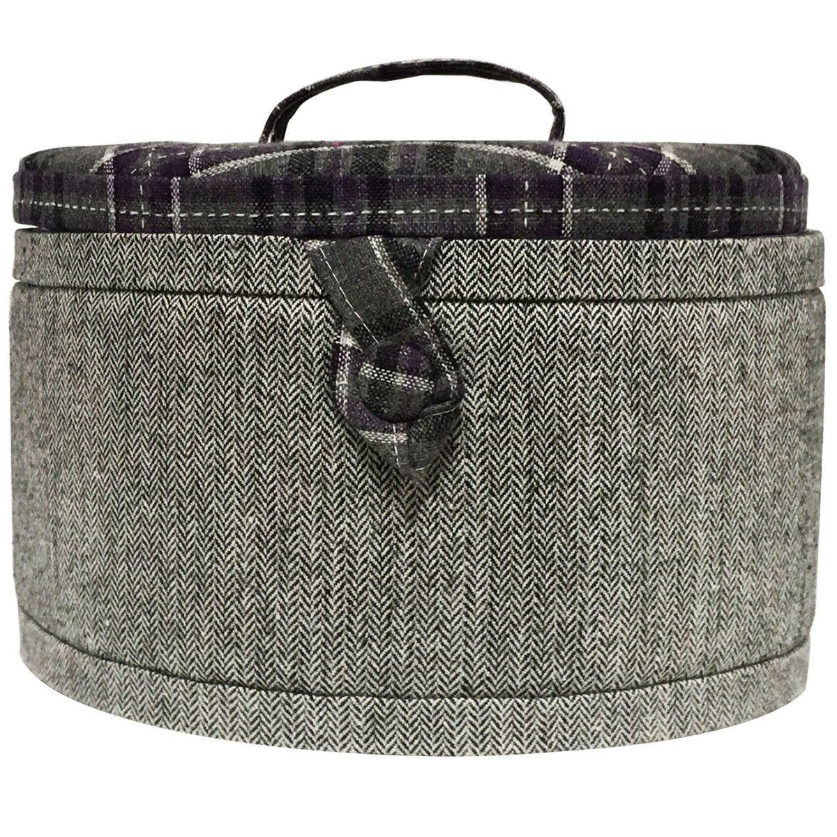 Korbond Lockland Lilac Tartan Round Sewing Box