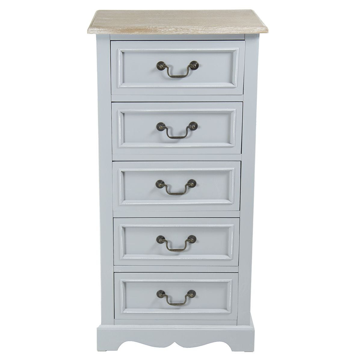 Charles Bentley Loxley Vintage Tall Boy Cabinet - Grey