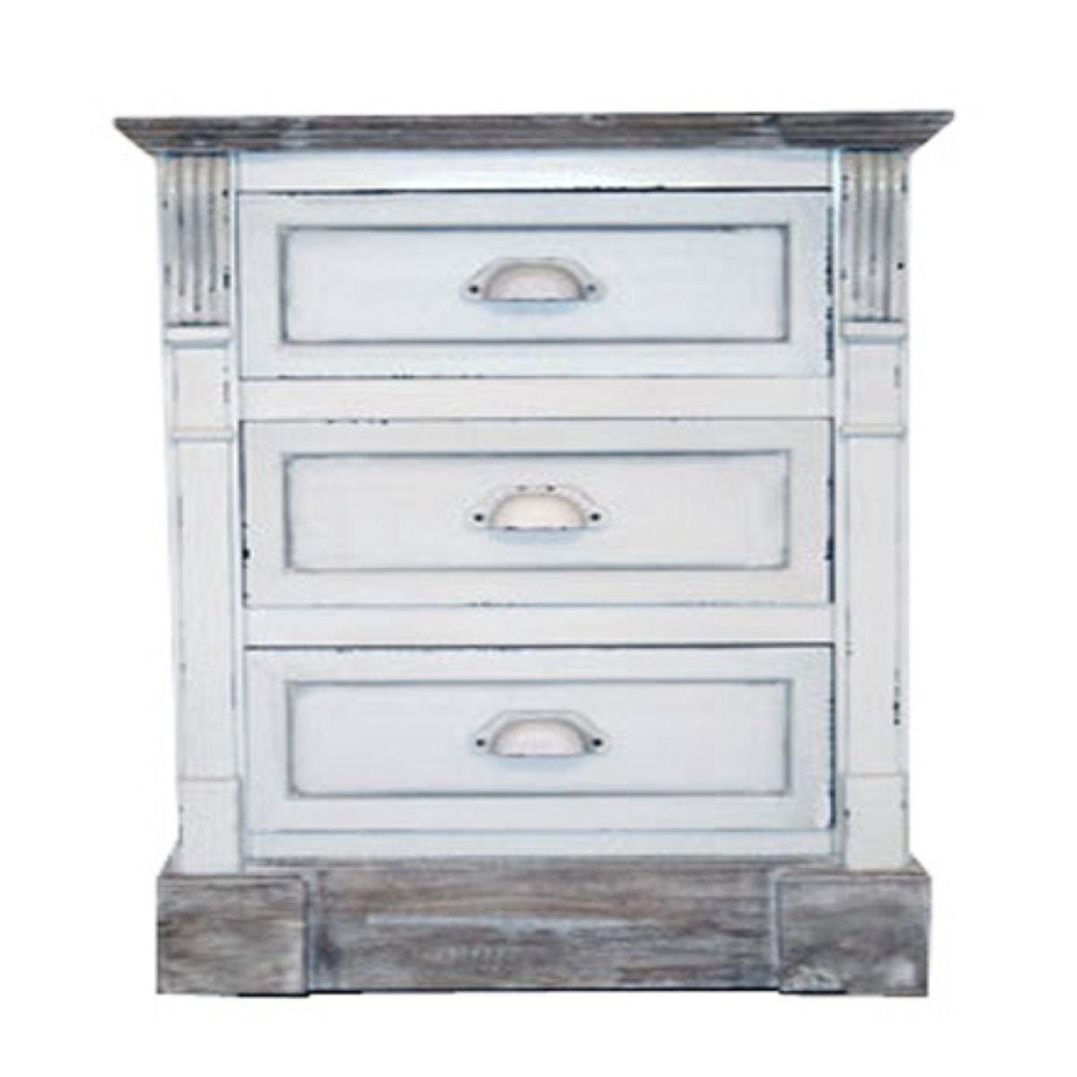 Charles Bentley Shabby Chic Vintage French Style 3 Drawer Bedside Table - White