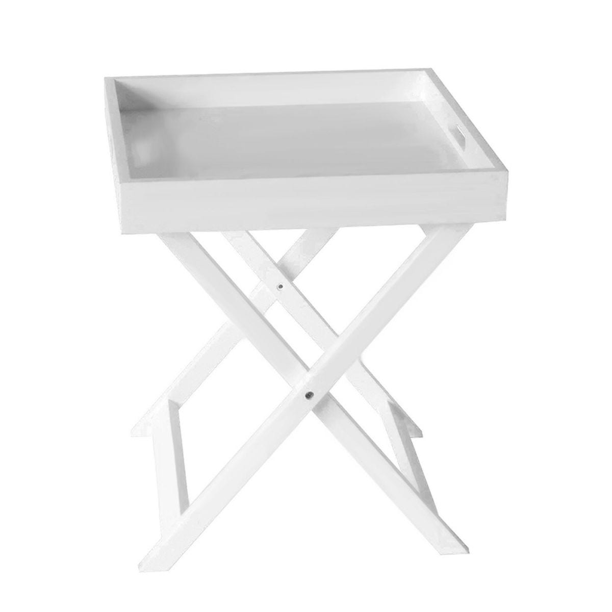 Charles Bentley Wooden Tray with Stand - White