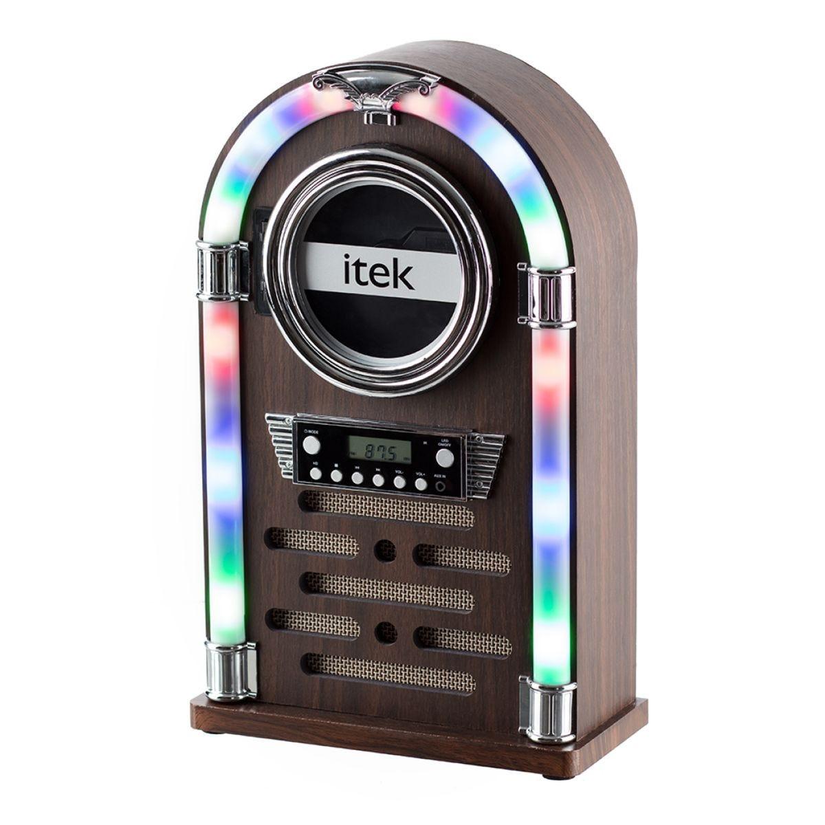 Itek Mini Bluetooth Jukebox with CD Player and Radio - Wood