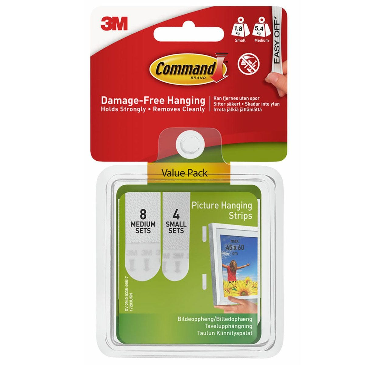 3M Command Small and Medium Picture Hanging Strips - 12 Pack