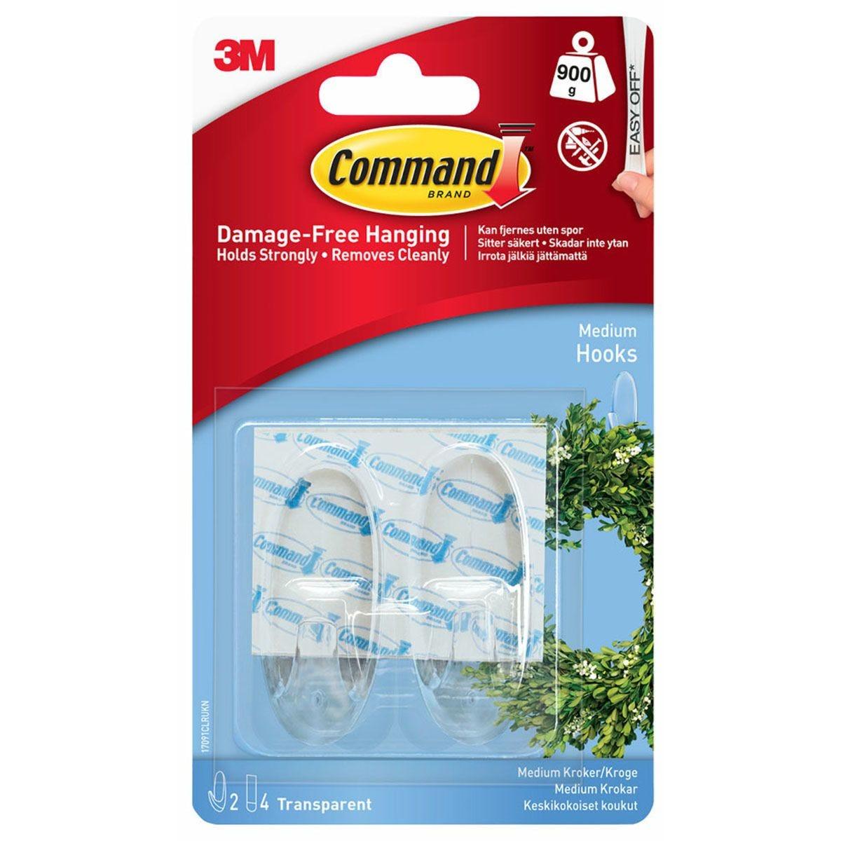 3M Command Medium Clear Hooks - 2 Pack