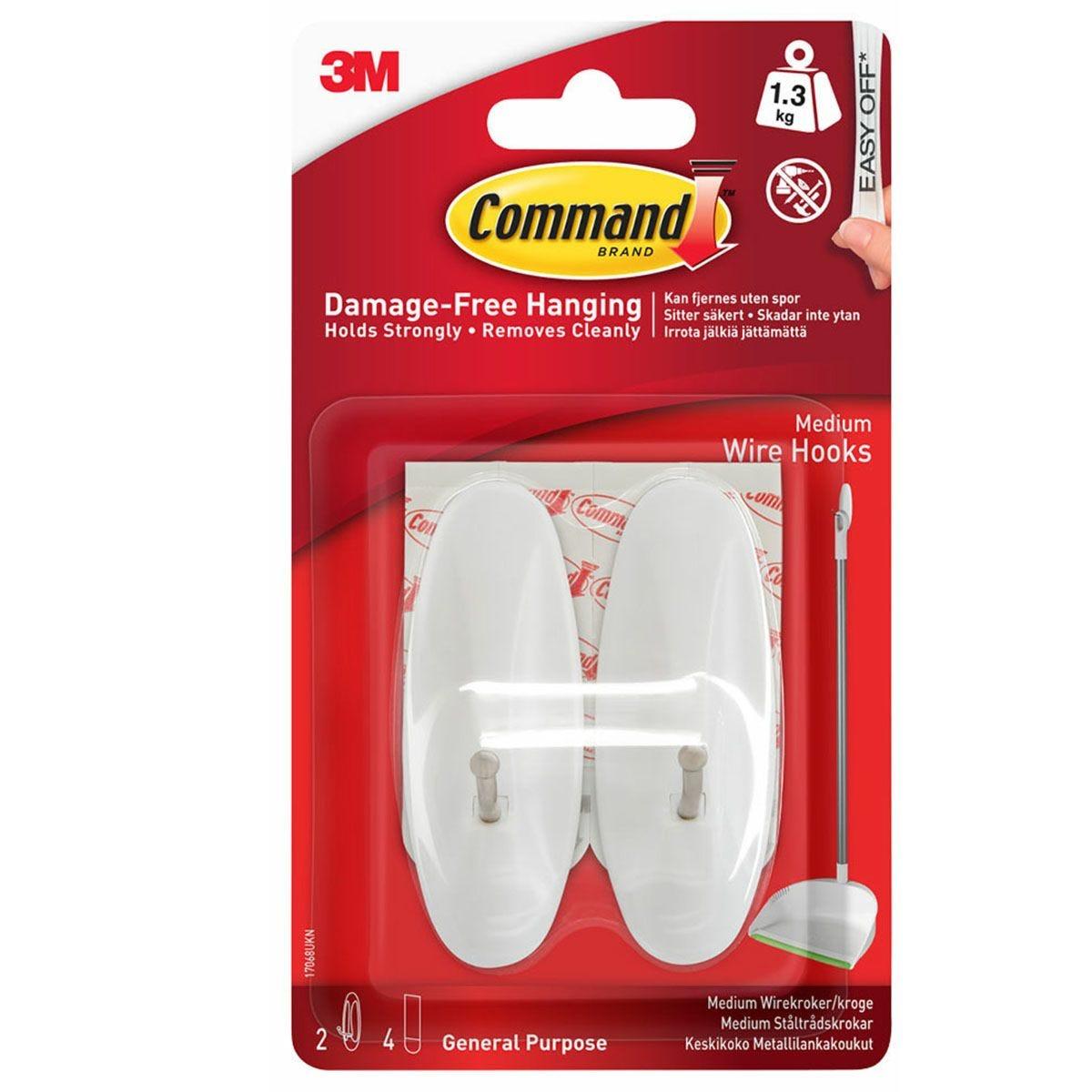 3M Command Medium White Wire Hooks - 2 Pack