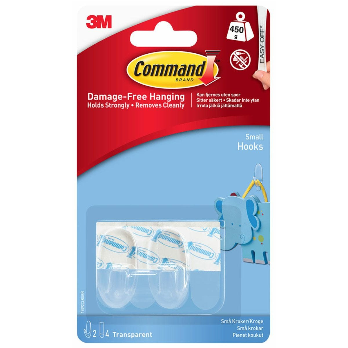 3M Command Small Clear Hooks - 2 Pack