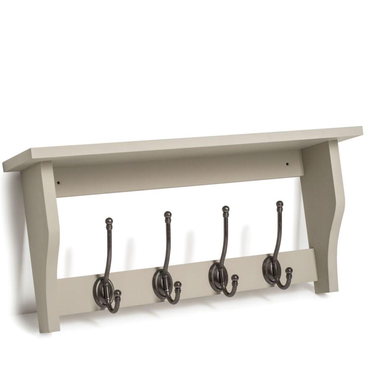 Lewiston 4 Coat Hooks with Shelf – French Grey